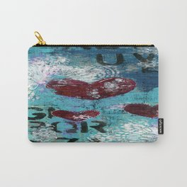 Mixed Media Wall Art. Teal, Navy Blue, Burgundy and White. Heart Art Carry-All Pouch