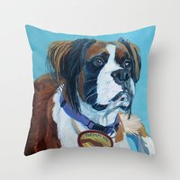 nori Throw Pillows featuring Nori the Therapy Boxer by Barking Dog Creations Studio
