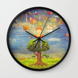 Little boy sitting on the tree and  reading a book, objects flying out Wall Clock