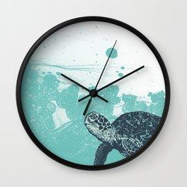Sea Foam Sea Turtle Wall Clock