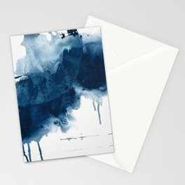 Where does the dance begin? A minimal abstract acrylic painting in blue and white by Alyssa Hamilton Stationery Cards
