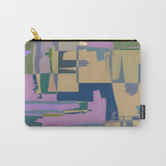 Pale Existence - Abstract, pastel purple, blue, mustard and green painting Carry-All Pouch