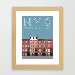 West Village NYC Travel Poster Framed Art Print