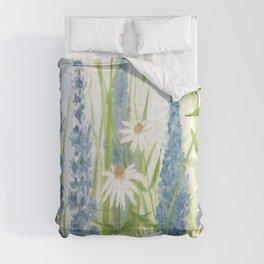 Watercolor Botanical Garden Flower Wildflower Blue Flower Garden Comforters