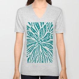 Blue Linocut Flower Textile Unisex V-Neck