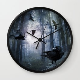 Misty Forest Crows Wall Clock