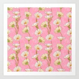 Pink Daisies pattern Art Print