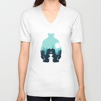 monsters inc V-neck T-shirts featuring Welcome To Monsters, Inc. by filiskun