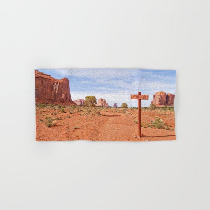 Road closed desert Hand & Bath Towel
