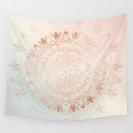 Rose Gold Blush Mint Floral Mandala Wall Tapestry