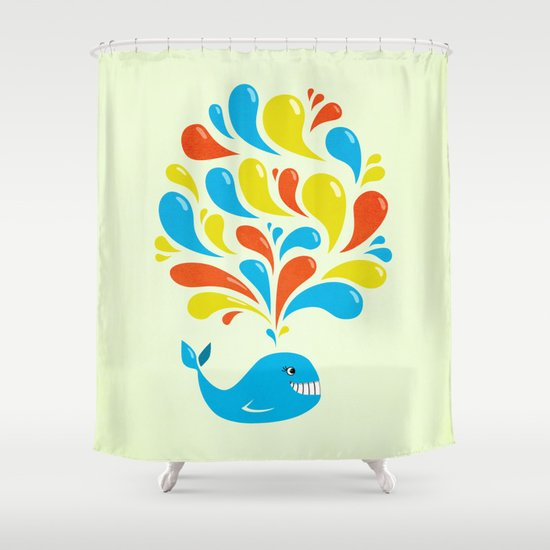 Colorful Swirls Happy Cartoon Whale Shower Curtain