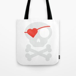 Skull Heart Valentines Day Pirate Flag Tote Bag