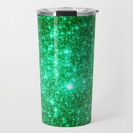 Emerald Green Glitter Stars Travel Mug