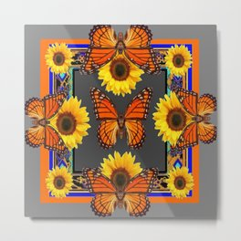 Western Grey & Orange Monarch Butterflies  sunflower Patterns Art For t Metal Print