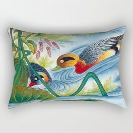 A pair of ducks on a pond : Minhwa(Korean traditional/folk art) Rectangular Pillow