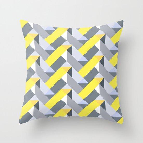 Herringbone geometric yellow Throw Pillow