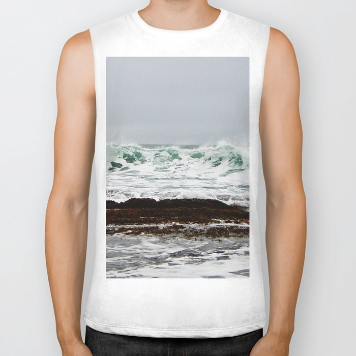 Green Wave Breaking Biker Tank