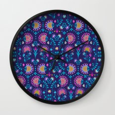 Folkloric In Blue Wall Clock
