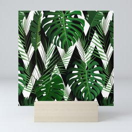 Geometrical green black white tropical monster leaves Mini Art Print