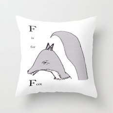 'F' Is For Fox Throw Pillow