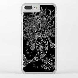 Skeleton Mermaid Goth Punk Clear iPhone Case