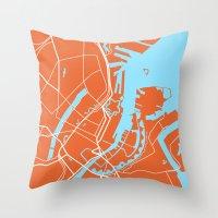 copenhagen Throw Pillows featuring Copenhagen Map by Studio Tesouro