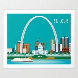 St. Louis, Missouri - Skyline Illustration by Loose Petals Art Print