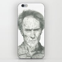 clint eastwood iPhone & iPod Skins featuring Clint Eastwood by theMAINsketch