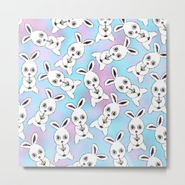 Cute Bunny with Coffee Frappe on Pink Blue Haze Metal Print