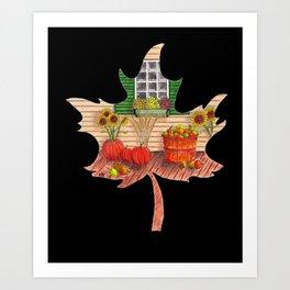 Maple Leaf Fall (on black) Art Print