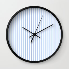 Mattress Ticking Narrow Striped Pattern in Pale Blue and White Wall Clock