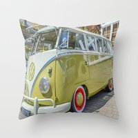 lime green Throw Pillows featuring Lime Green Camper Van by Cornish Creations