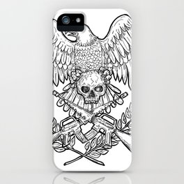 Eagle Skull Assault Rifle Drawing iPhone Case