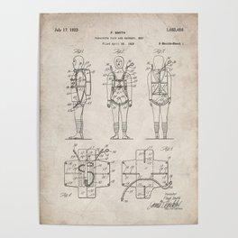 Parachute Pack Patent - Sky Diving Art - Antique Poster