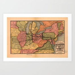 Vintage Ohio River Valley Railroad Map (1874) Art Print