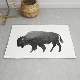 Charcoal Bison, Watercolor buffalo Rug