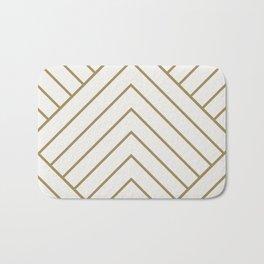 Diamond Series Pyramid Gold on White Bath Mat