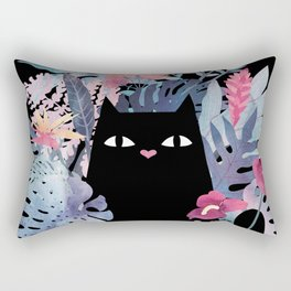 Popoki (Pastel Black Velvet) Rectangular Pillow