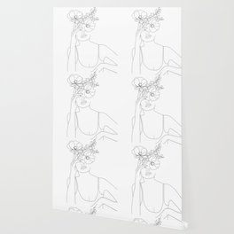 Minimal Line Art Woman with Flowers II Wallpaper