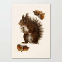 squirrel Canvas Prints featuring Squirrel by Heaven7