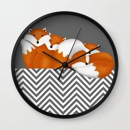 sleeping foxes 2 Wall Clock