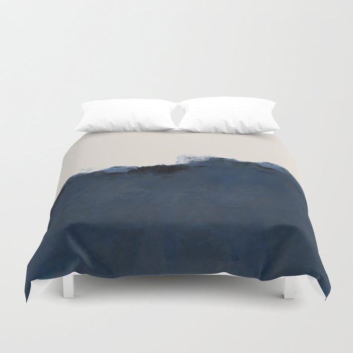 Abstract, blue, beige, indigo Duvet Cover
