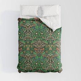 William Morris Jacobean Floral, Black Background Comforters
