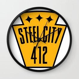 Pittsburgh Steel City Pennsylvania Keystone 412 PGH Pride Wall Clock