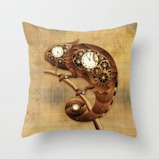 Steampunk Chameleon Vintage Style Throw Pillow