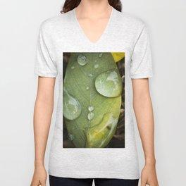 Raindrops on a green leaf Unisex V-Neck