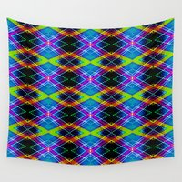 plaid Wall Tapestries featuring SBS Plaid  by Jeffrey J. Irwin