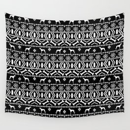 Whippet fair isle dog breed pattern christmas holidays gifts dog lovers black and white Wall Tapestry