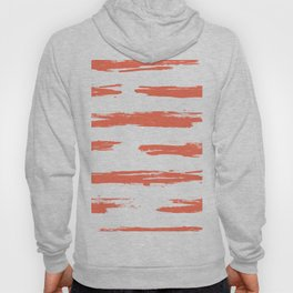 Brushed Stripe Deep Coral on White Hoody