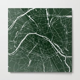 Paris France Minimal Street Map - Forest Green Metal Print